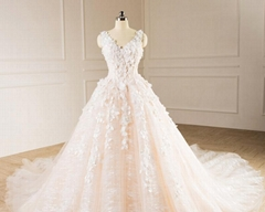 Sleeveless V-neck Bridal Dresses Lace Tulle Champagne Custom Wedding Gown E229