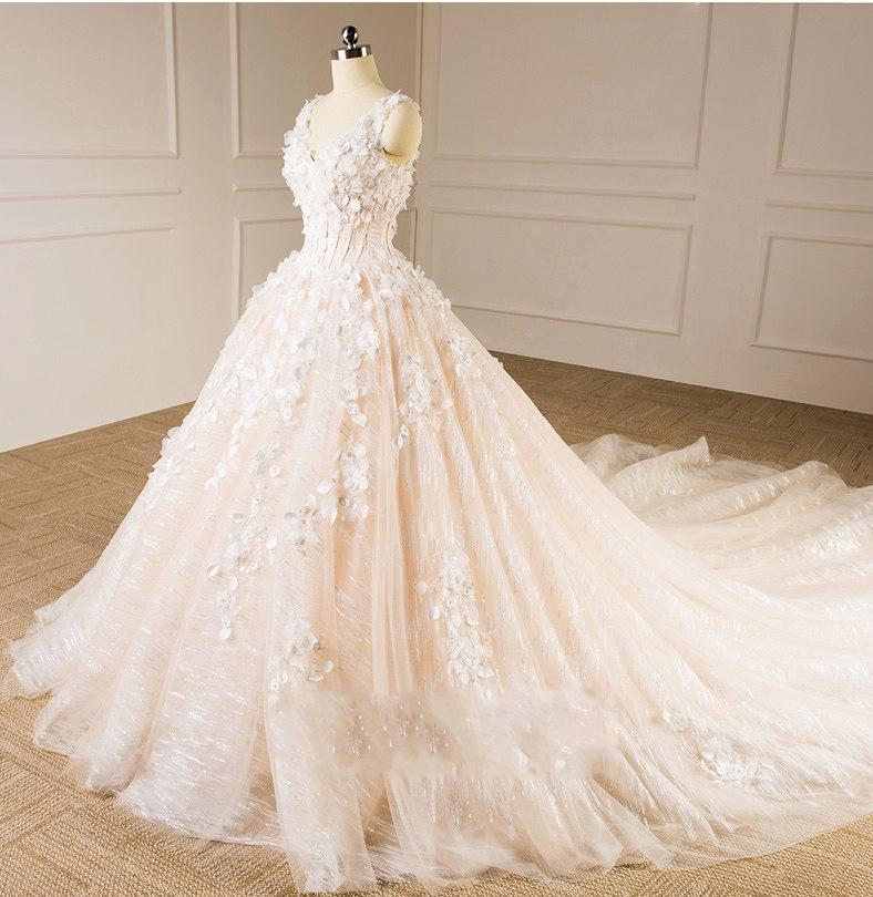 Sleeveless V-neck Bridal Dresses Lace Tulle Champagne Custom Wedding Gown E229 3