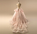 Pink Wedding Ball Gown Tulle Beaded Sheer 3D Flower Bridal Wedding Gowns WH8 2