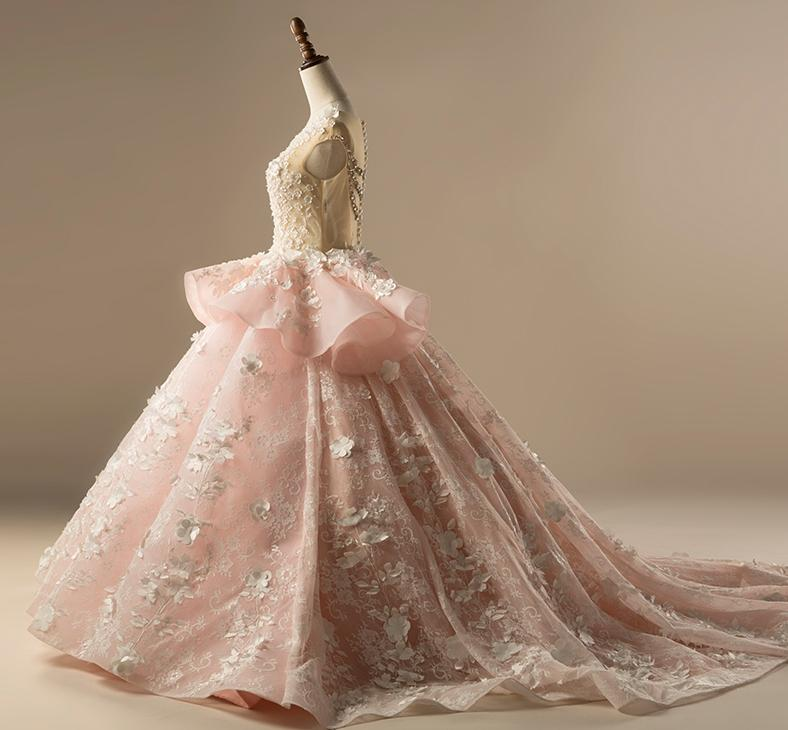 Pink Wedding Ball Gown Tulle Beaded Sheer 3D Flower Bridal Wedding Gowns WH8 3