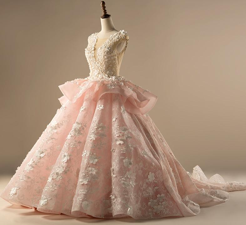 Pink Wedding Ball Gown Tulle Beaded Sheer 3D Flower Bridal Wedding Gowns WH8 1