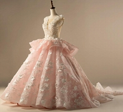 Pink Wedding Ball Gown Tulle Beaded