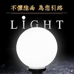 LED 太陽能 造景球型柱頭燈