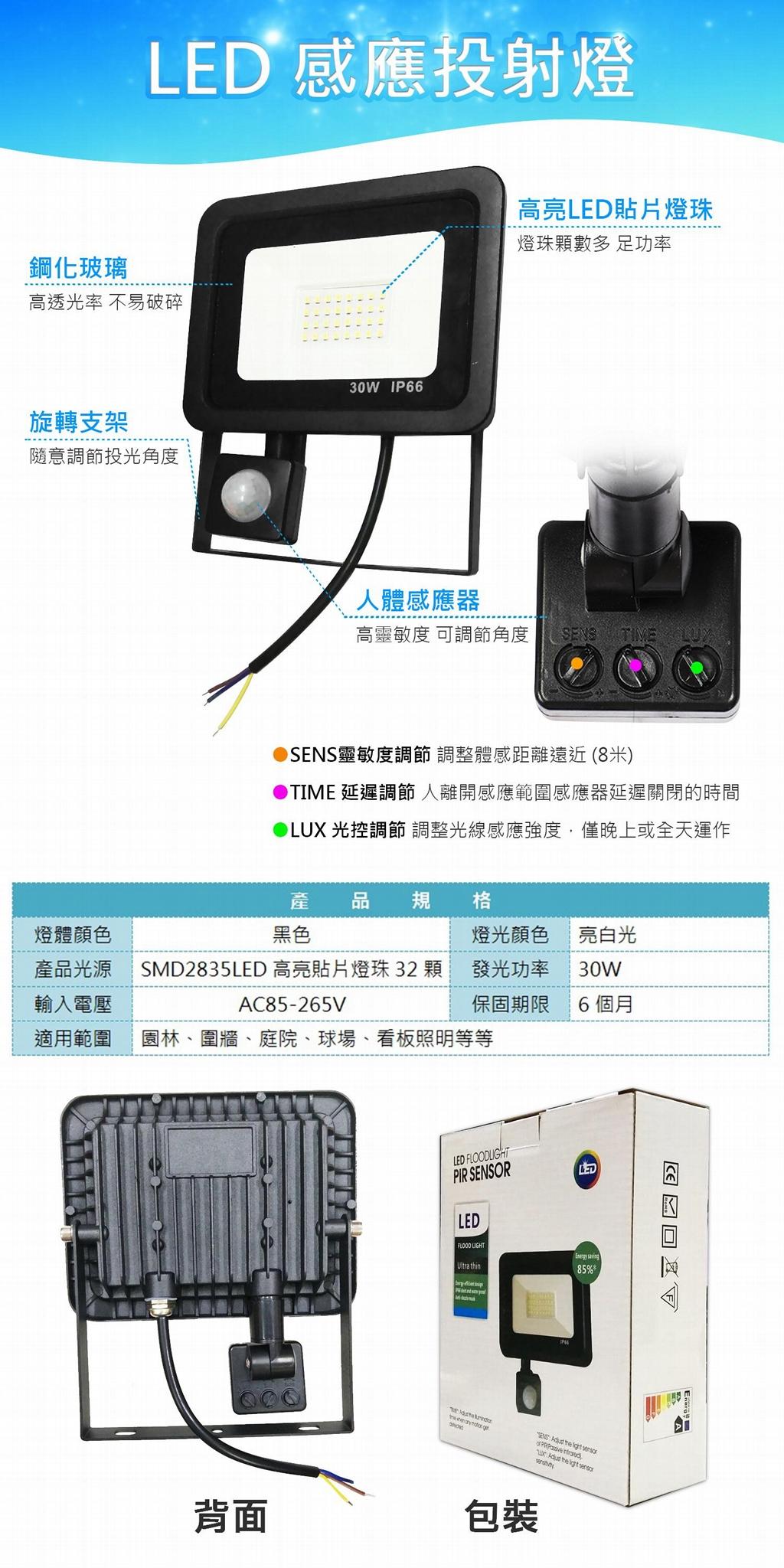 LED 30W 感應投射燈 2