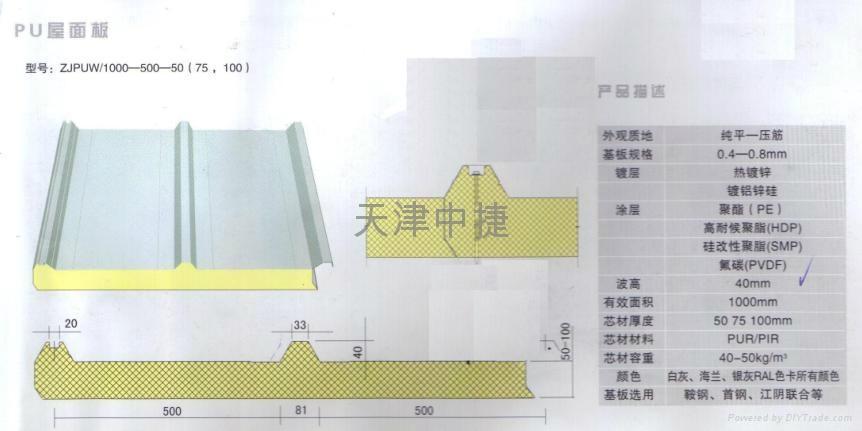 A级防火岩棉夹芯聚氨酯封边彩钢板 3