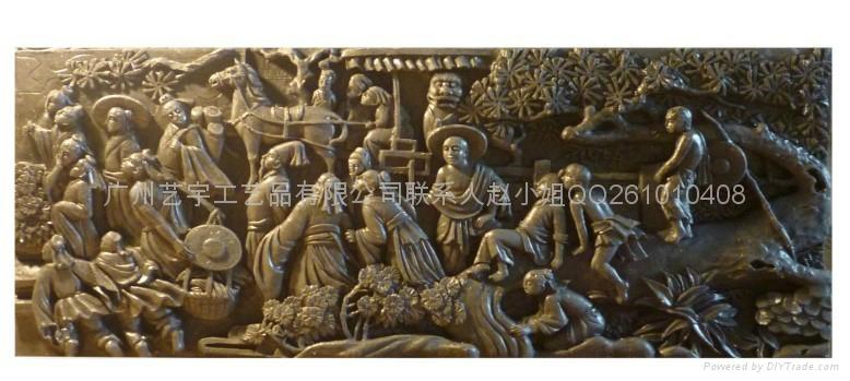 八仙过海砂岩浮雕壁画  1