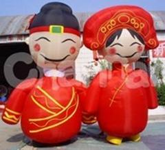 中式新娘新郎充氣卡通