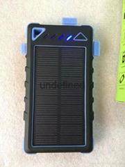 8000mAh Solar power bank for smartphone Dustproof waterproof Panel Shockproof