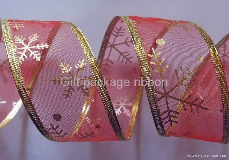 gold organza with glitters printing, wire edge 3