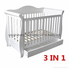 3 in 1 Wooden Deluxe Baby Sleigh Cot