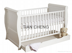3 IN 1 Baby sleigh cot bed