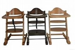 Wooden baby feeding high chair
