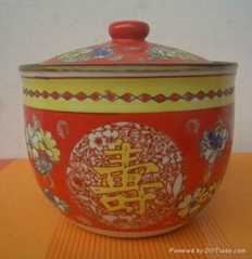 供应加工陶瓷中国红泡菜坛