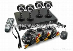 H.264 DVR DIY Kits,4channel DVR with 4pcs IR Camera,4pcs 18M RG59 BNC cable