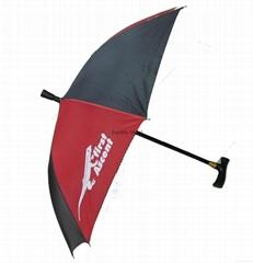带伞的登山杖