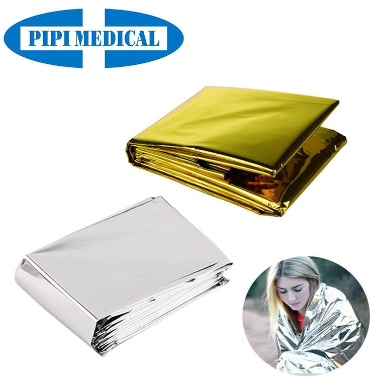 Outdoor si  er gold pet material thermal emergency blanket first aid survival 5