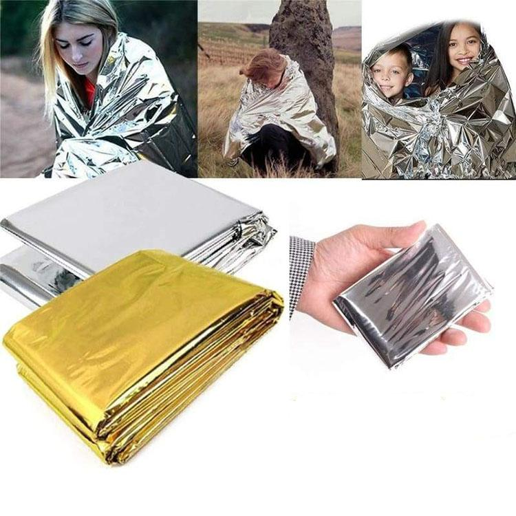Outdoor si  er gold pet material thermal emergency blanket first aid survival 8