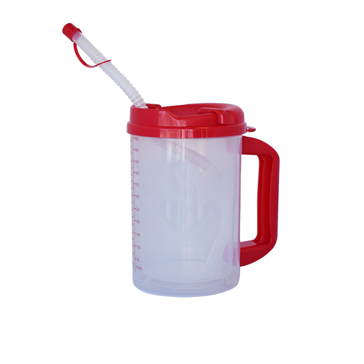 Medical Plastic Insulated Cup clear Insulated Graduated Carafe with straw  5