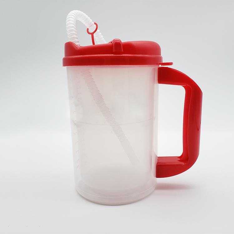 Medical Plastic Insulated Cup clear Insulated Graduated Carafe with straw  6