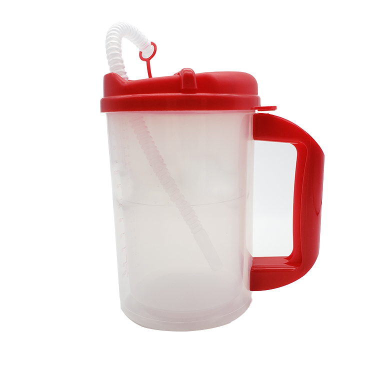 Medical Plastic Insulated Cup clear Insulated Graduated Carafe with straw  7