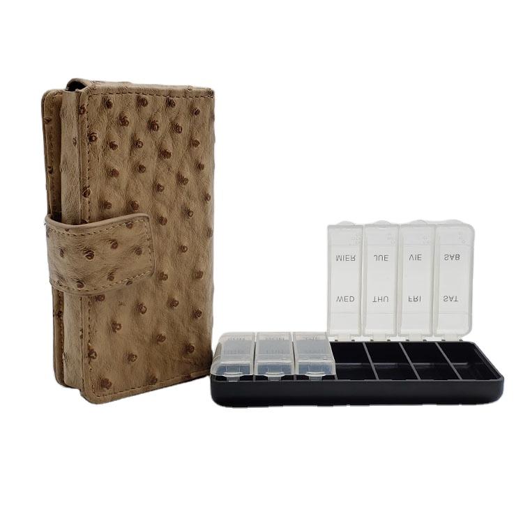 Pill  Box Wallet Travel Organizer Dispenser Storage Case with PU Leather bag 2