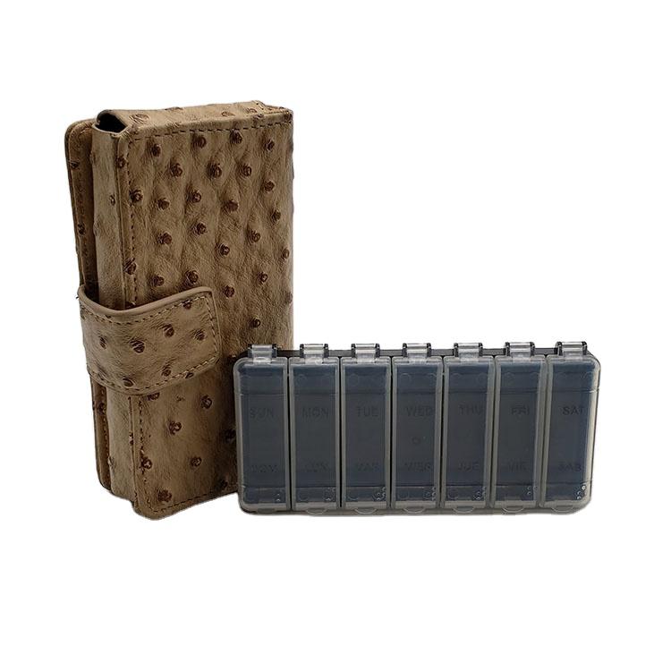 Pill  Box Wallet Travel Organizer Dispenser Storage Case with PU Leather bag 4