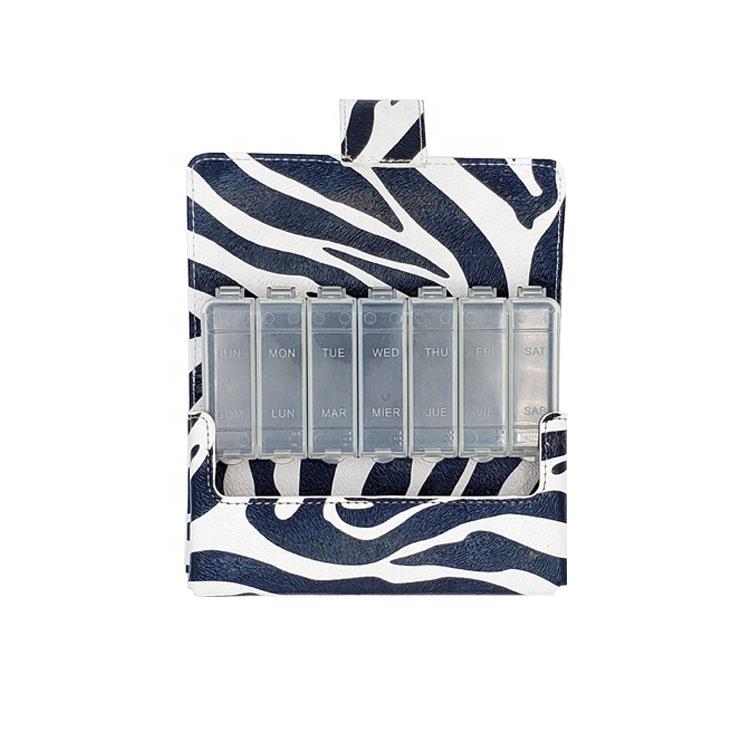 Portable Pill Box Wallet Pill Box weekly Pill case Organizer with PU Bag 2