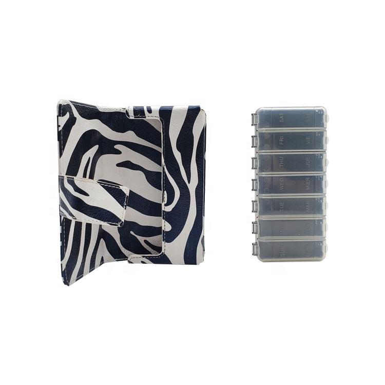Portable Pill Box Wallet Pill Box weekly Pill case Organizer with PU Bag 4