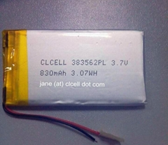 383562 3.7V Lithium Polymer Battery Cell 830mAh With PCM For Bluetooth Headsets