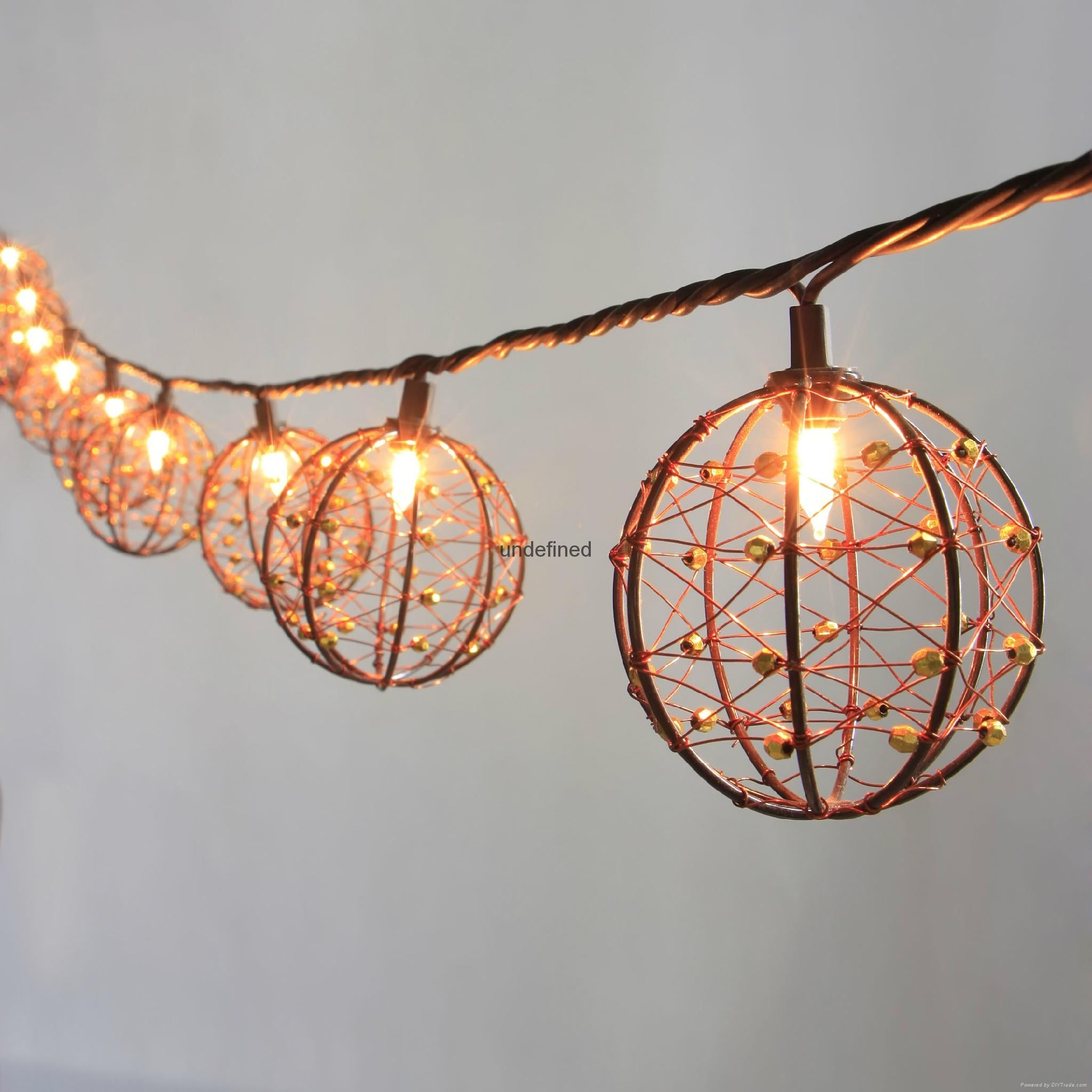 String Lights With Wire : Party String Lights-Decorative Beaded Copper Wire Ball string light 10ct - KF01043 - Lawn and ...