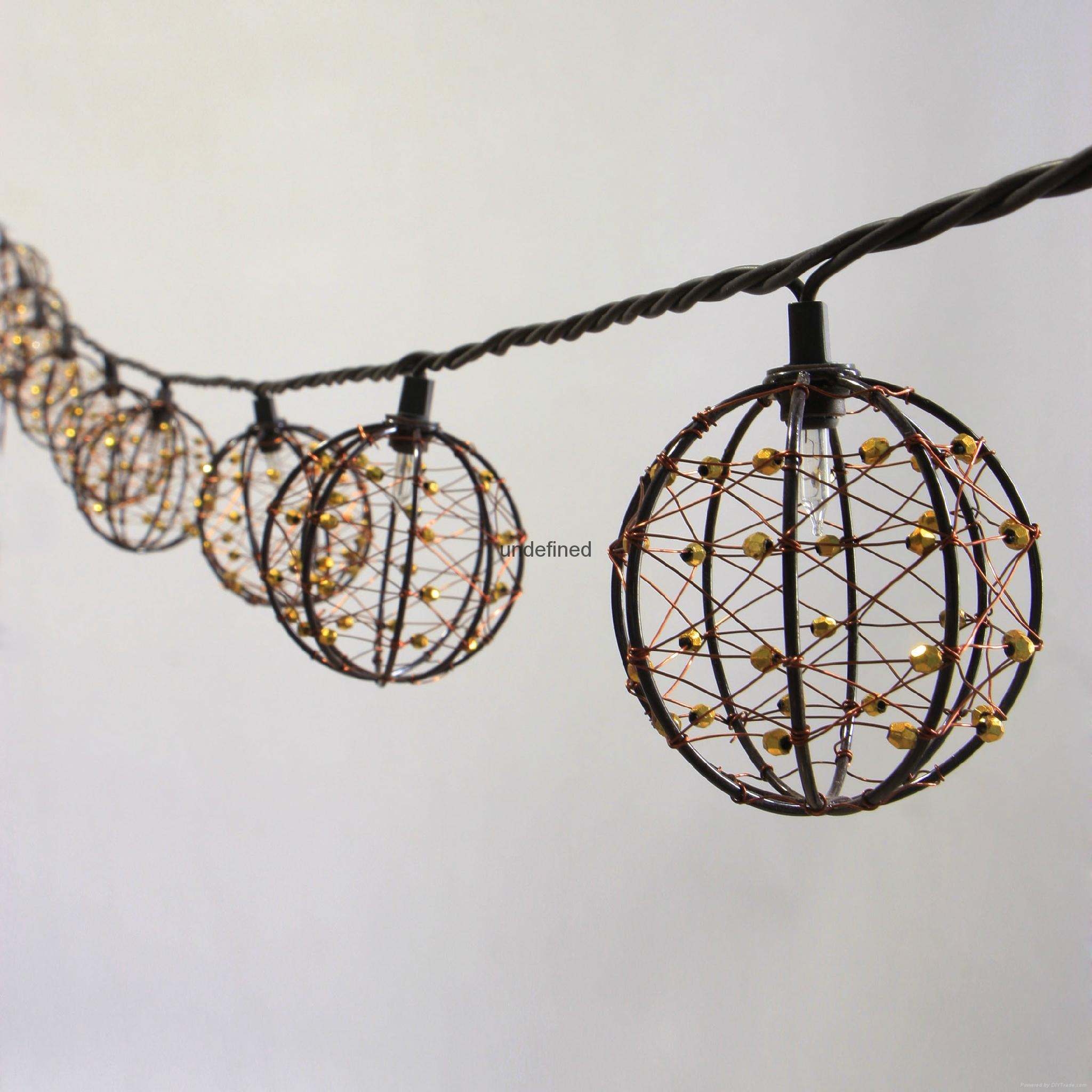 Decorative Garden String Lights : Party String Lights-Decorative Beaded Copper Wire Ball string light 10ct - KF01043 - Lawn and ...