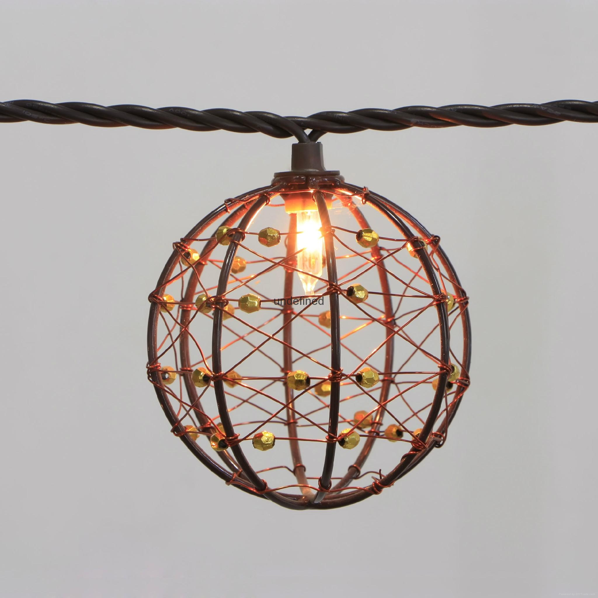 Party String Lights-Decorative Beaded Copper Wire Ball string light 10ct - KF01043 - Lawn and ...