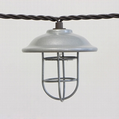 Garden String Light-Decorative Ga  anized hood & wire cage string light 10ct