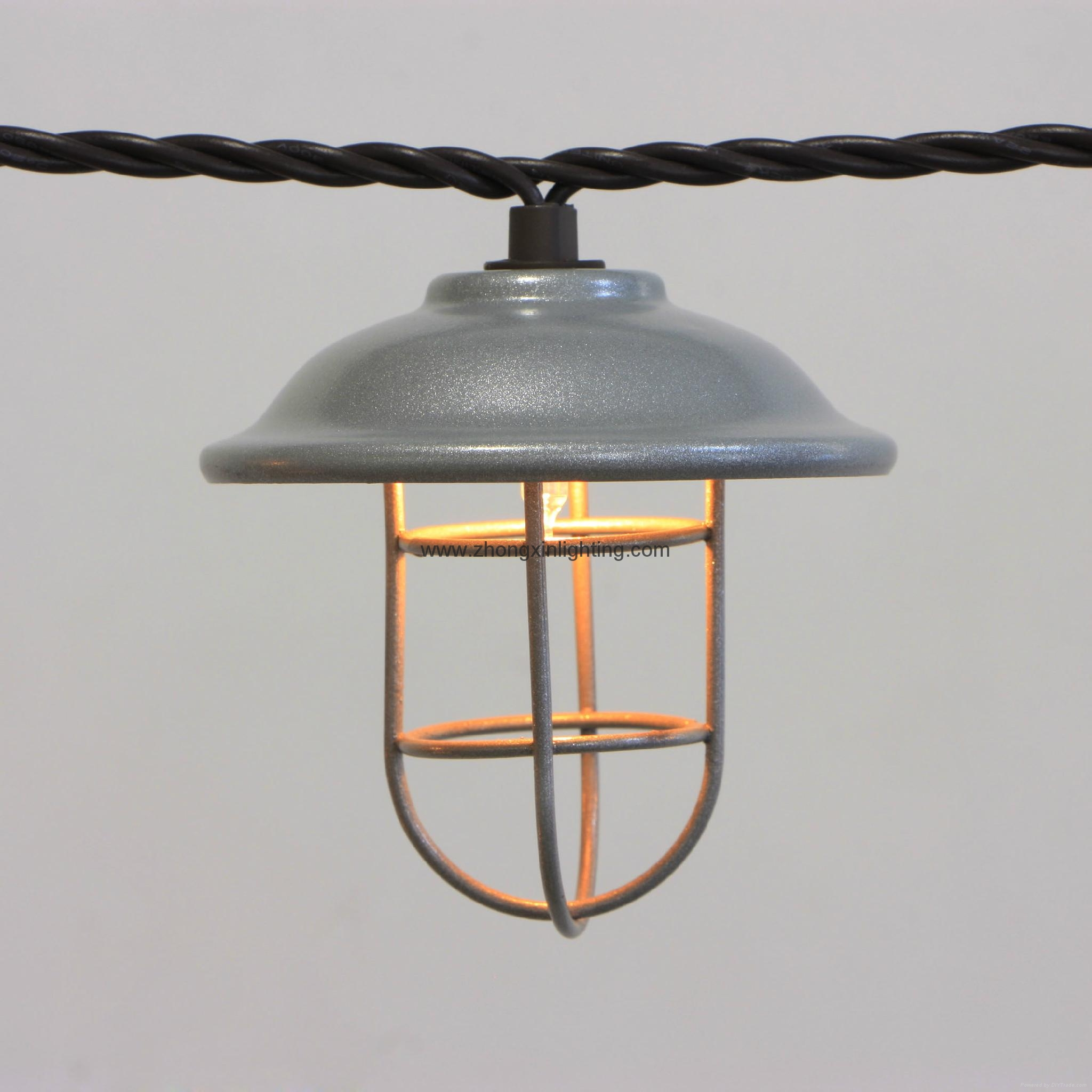 String Lights With Cage : Garden String Light-Decorative Galvanized hood & wire cage string light 10ct - KF01696 - Lawn ...