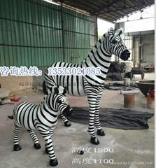 樹脂彩繪斑馬雕塑