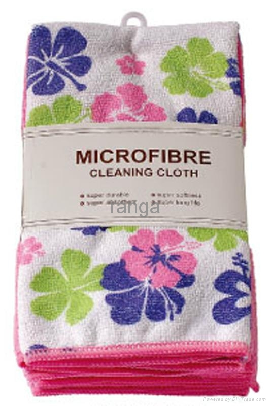 microfiber cleaning cloth with print fllower 1