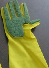 latex cleaning gloves Five finger sponge scouring pad with yellow color