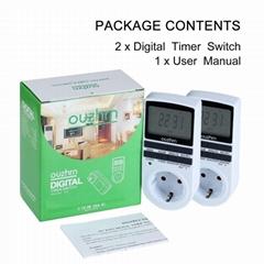 歐規電子定時器可編程多用途大屏顯示定時開關(2pack)