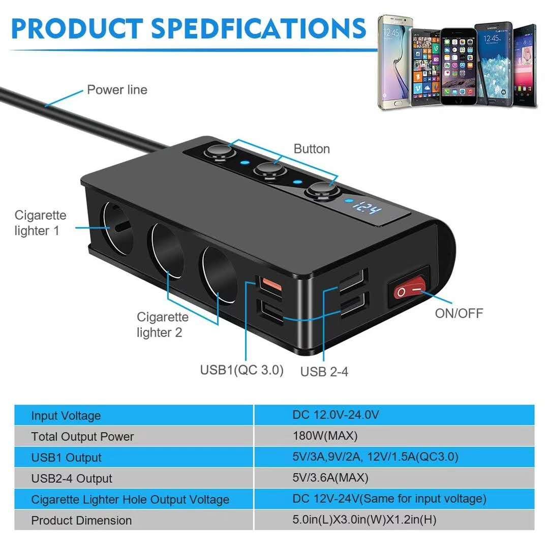 7-in-1,3 Sockets Cigarette Lighter Splitter & 4USB,180W 12V/24V Car Adapter 5