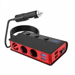 點煙器數顯車載充電器一拖三180W耐高溫車充4口usb無線充電器