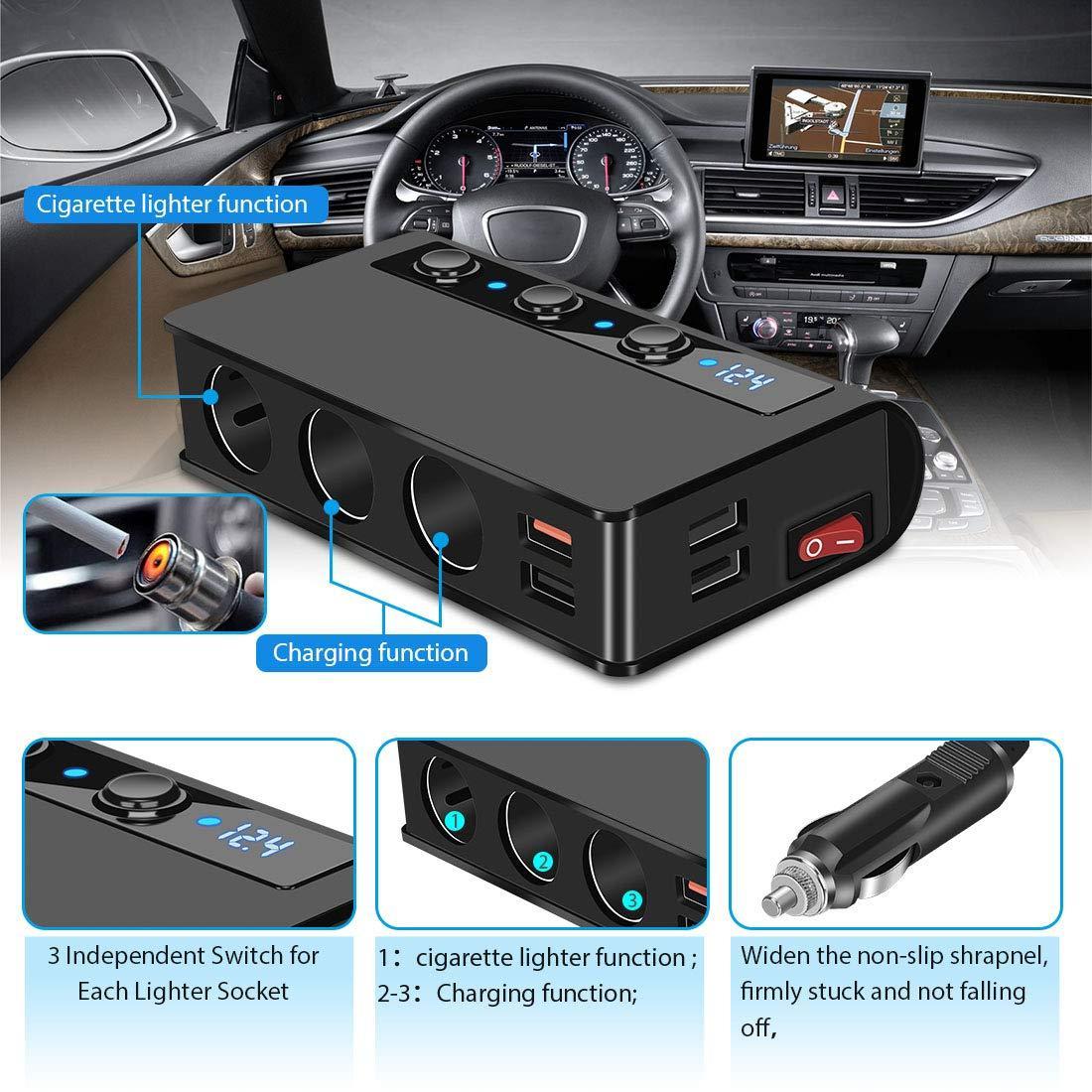 7-in-1,3 Sockets Cigarette Lighter Splitter & 4USB,180W 12V/24V Car Adapter 7