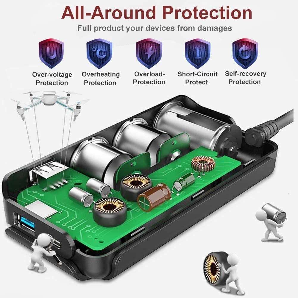 7-in-1,3 Sockets Cigarette Lighter Splitter & 4USB,180W 12V/24V Car Adapter 10