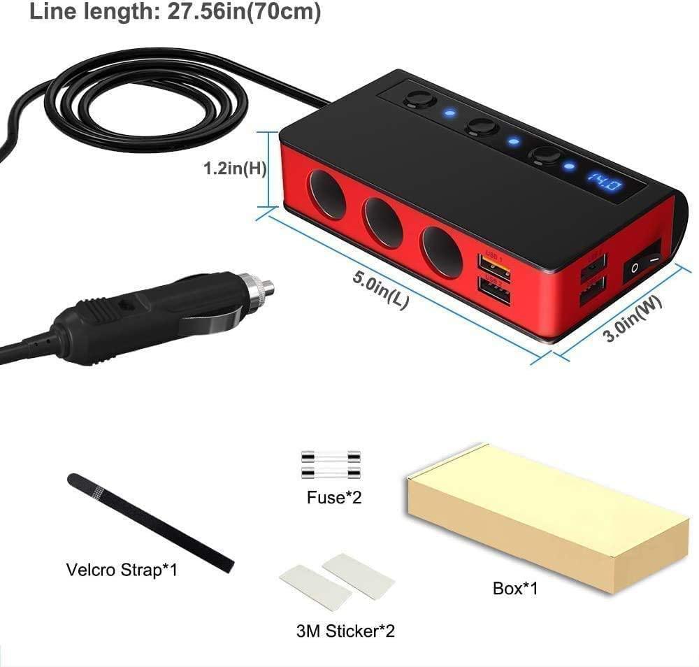 7-in-1,3 Sockets Cigarette Lighter Splitter & 4USB,180W 12V/24V Car Adapter 2