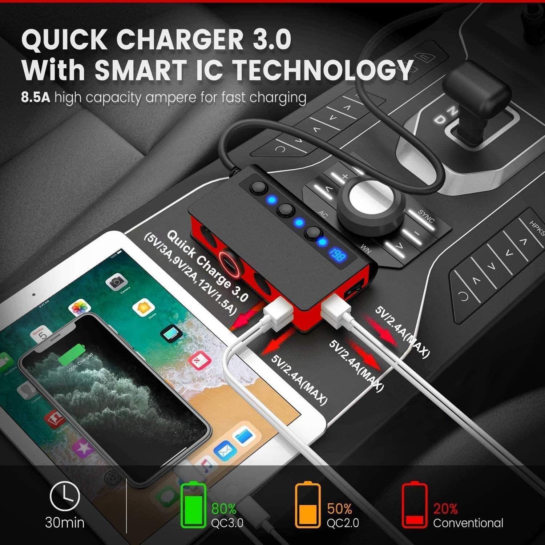 7-in-1,3 Sockets Cigarette Lighter Splitter & 4USB,180W 12V/24V Car Adapter 12