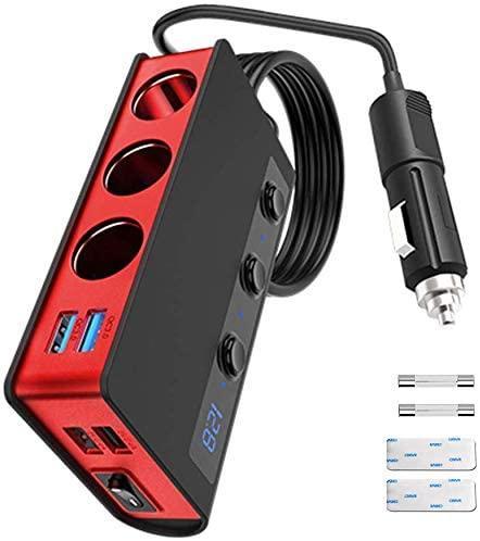 7-in-1,3 Sockets Cigarette Lighter Splitter & 4USB,180W 12V/24V Car Adapter 1