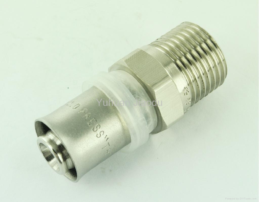 Brass press fittings of equal tee for pex pipe jd