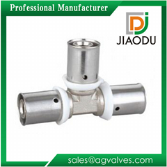 Brass Press Fittings Of Equal Tee For Pex Pipe
