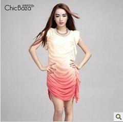 新品 渐变色 荷叶边 雪纺连衣裙 两件装6G982