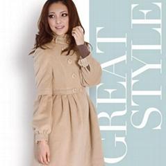 秋冬新款雙排扣OL風立領高腰修身型大衣外套