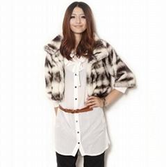 秋冬新款立領七分袖加厚修身高仿皮草短外套